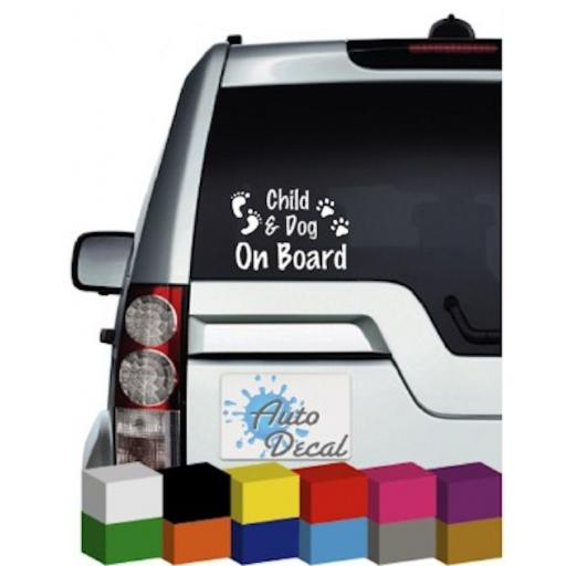 Child & Dog On Board Novelty Vinyl Window Car Bumper, Decal / Sticker / Graphic