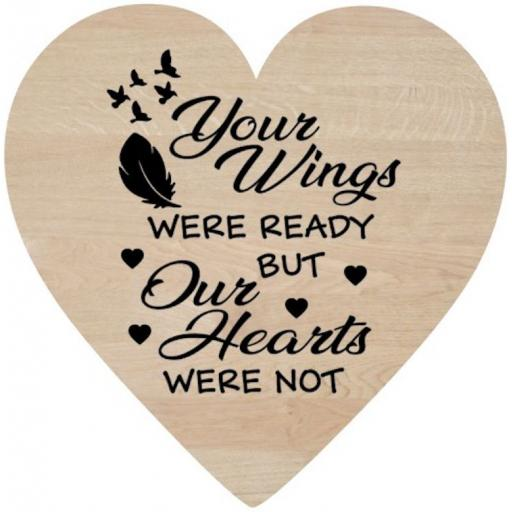Your Wings were ready Wooden Heart Decal / Sticker/ Graphic