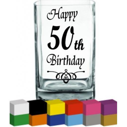 Happy (Number) Birthday Vase Decal / Sticker / Graphic