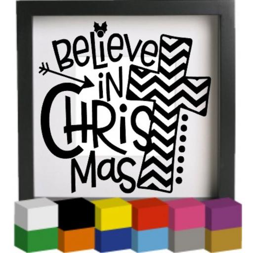 Believe in Christmas Vinyl Glass Block / Photo Frame Decal / Sticker / Graphic