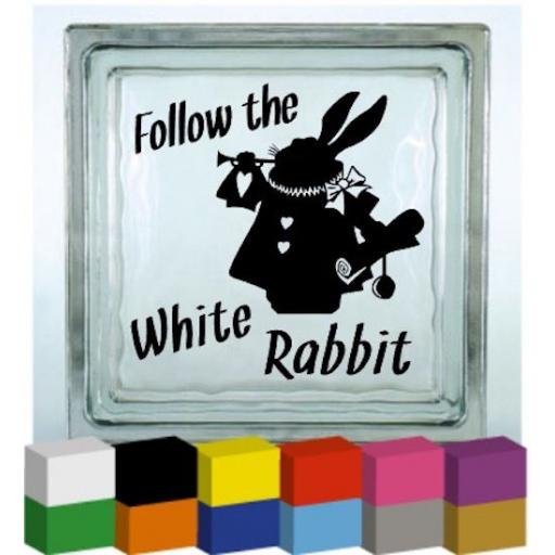 Follow the White Rabbit Vinyl Glass Block / Photo Frame Decal / Sticker / Graphic