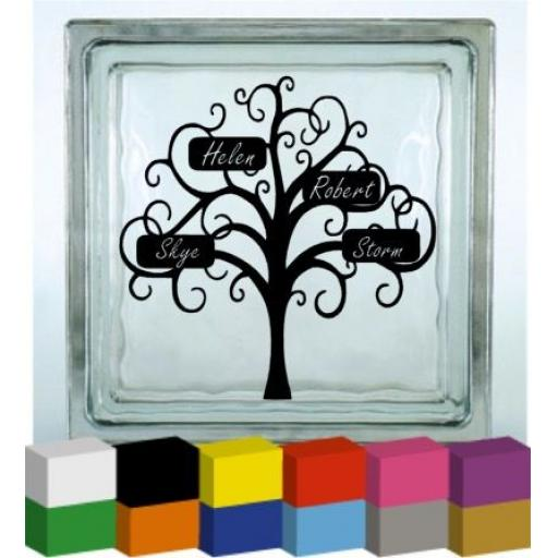 Family Tree with Personalised names Vinyl Glass Block / Photo Frame Decal / Sticker/ Graphic