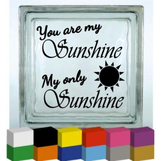 You are my Sunshine Vinyl Glass Block / Photo Frame Decal / Sticker / Graphic