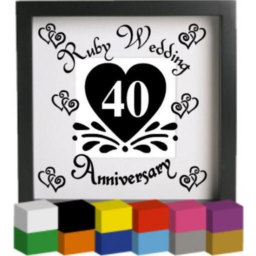 Ruby Wedding Anniversary Vinyl Glass Block / Photo Frame Decal / Sticker / Graphic