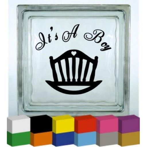 It's a Boy Vinyl Glass Block Decal / Sticker / Graphic