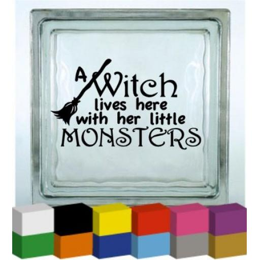 A witch lives here Vinyl Glass Block / Photo Frame Decal / Sticker / Graphic