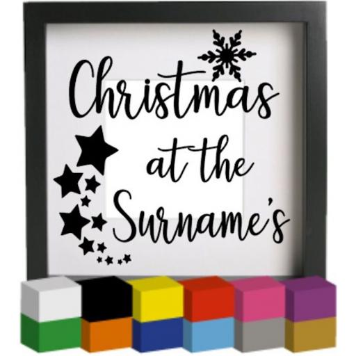 Christmas at the Personalised with surname V3 Vinyl Glass Block Decal / Sticker / Graphic