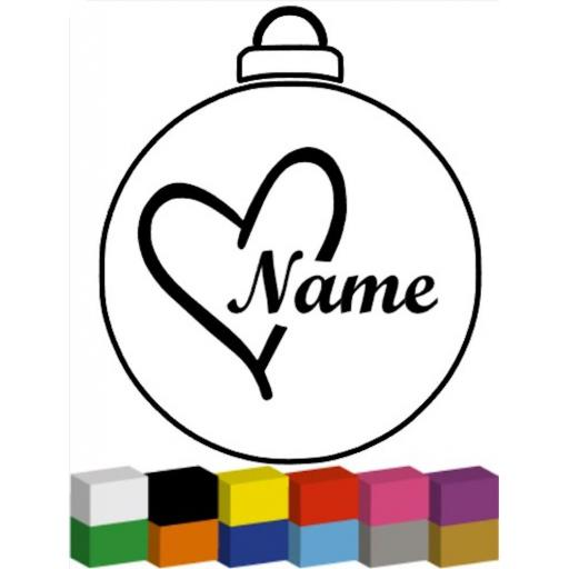 Heart Name for Bauble Decal / Sticker/ Graphic