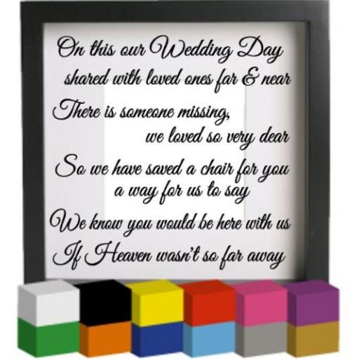 On this our Wedding Day Vinyl Glass Block Decal / Sticker / Graphic