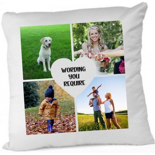 Photo Cushion with 4 pics Personalised Cushion Cover