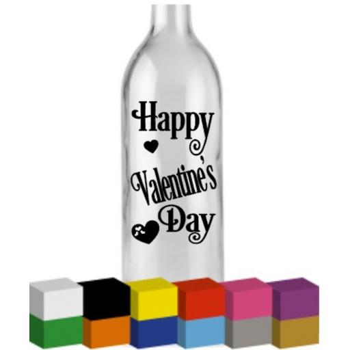 Happy Valentine's Day Bottle Vinyl Decal / Sticker / Graphic