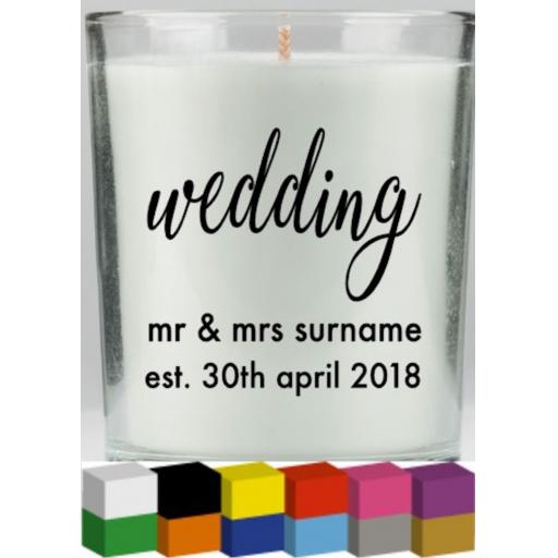 Wedding Personalised Candle Decal / Sticker / Graphic