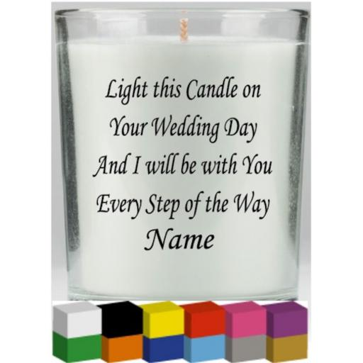 Light this candle on Your Wedding Day Personalised Candle Decal / Sticker / Graphic