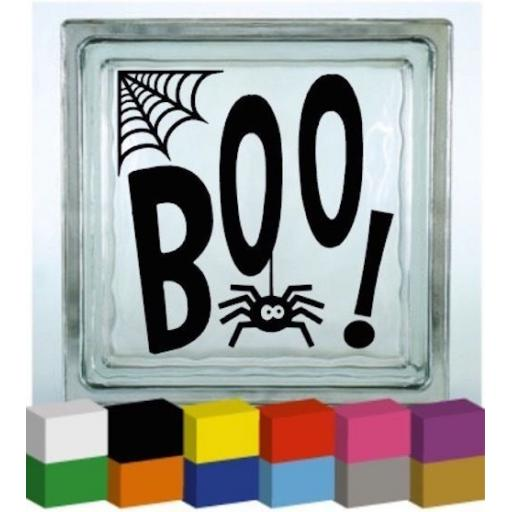 Boo! Halloween Vinyl Glass Block Decal / Sticker / Graphic