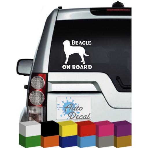 Beagle On Board Vinyl Window Car Bumper, Decal / Sticker / Graphic