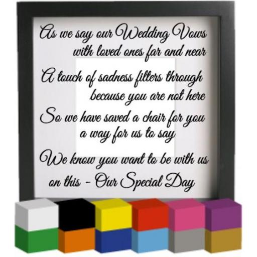 As we say our Wedding Vows Vinyl Glass Block Decal / Sticker / Graphic