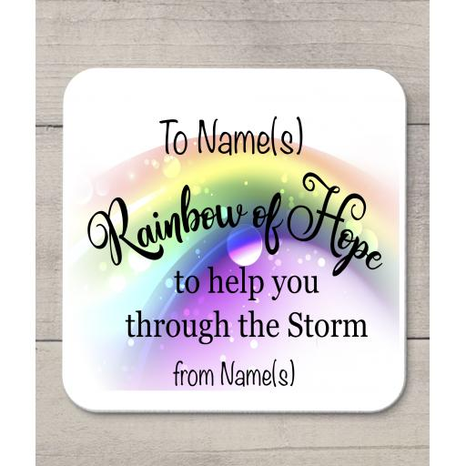 Rainbow of hope personalised Coaster