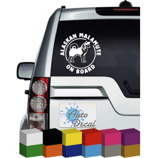 Alaskan Malamute On Board Vinyl Car, Van, 4x4 Decal / Sticker / Graphic