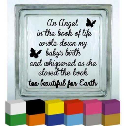 An angel in the book of life Vinyl Glass Block / Photo Frame Decal / Sticker / Graphic
