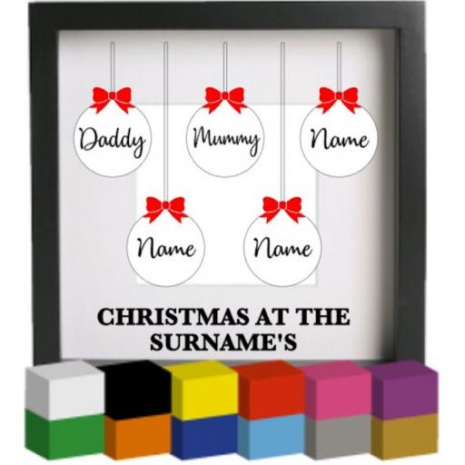 Christmas at the Bauble Personalised Vinyl Glass Block Decal / Sticker / Graphic