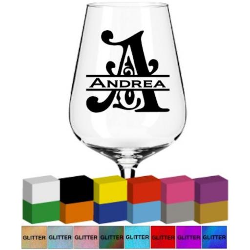 Fancy Initial and Name Glass / Mug Decal / Sticker / Graphic