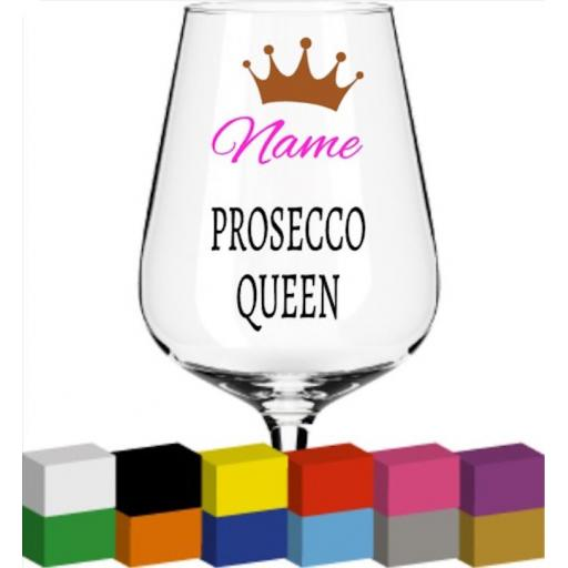 Prosecco Queen Personalised Glass / Mug / Cup Decal / Sticker / Graphic