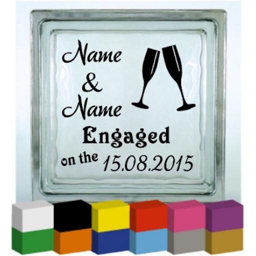 Personalised Engagement Vinyl Glass Block / Photo Frame Decal / Sticker/ Graphic