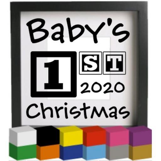 Babys 1st Christmas 2020 Vinyl Glass Block Decal / Sticker / Graphic