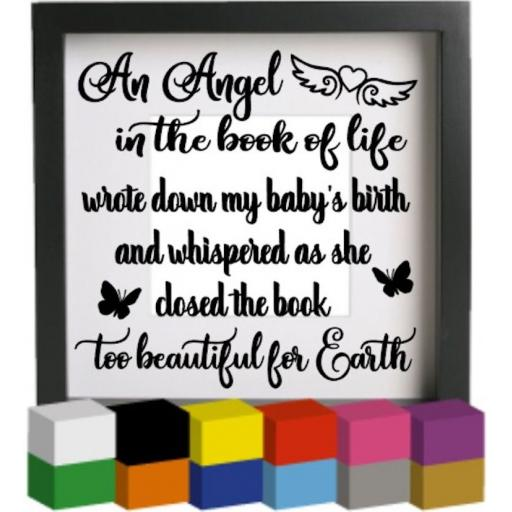 An angel in the book of life V2 Vinyl Glass Block / Photo Frame Decal / Sticker / Graphic
