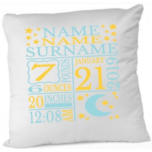 Baby Birth Moon Stars Cushion Cover