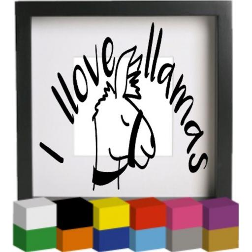 I llove Llamas Vinyl Glass Block / Photo Frame Decal / Sticker / Graphic