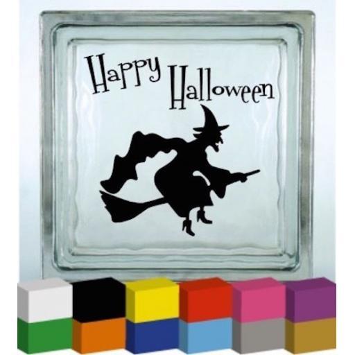 Happy Halloween Vinyl Glass Block Decal / Sticker / Graphic