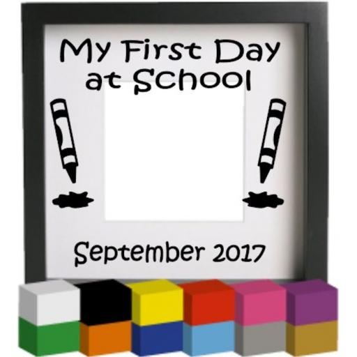My First Day at School Vinyl Glass Block / Photo Frame Decal / Sticker