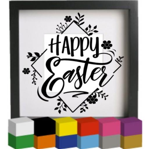 Happy Easter V2 Vinyl Glass Block / Photo Frame Decal / Sticker / Graphic