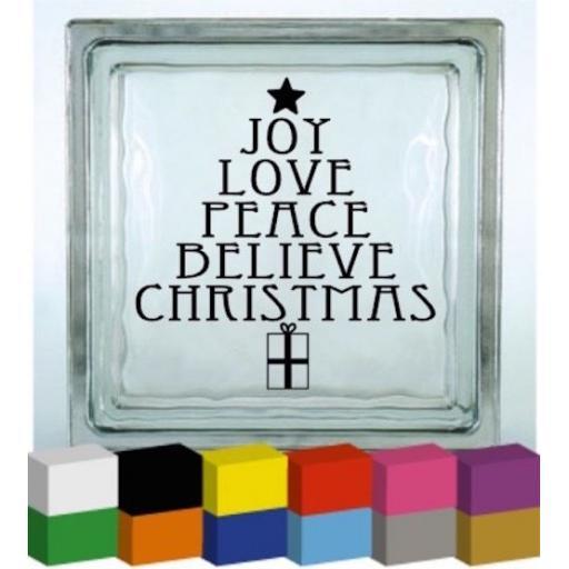 Joy Love Peace Believe Christmas Vinyl Glass Block / Photo Frame Decal / Sticker