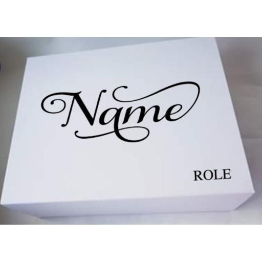 Name and Role Personalised Wedding Box Decal / Sticker / Graphic