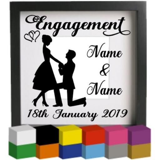 Engagement couple Personalised Vinyl Glass Block / Photo Frame Decal / Sticker / Graphic