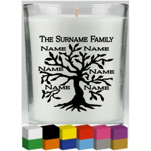 Family Tree Candle Decal / Sticker / Graphic