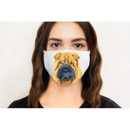 Shar Pei Dog Face Mask