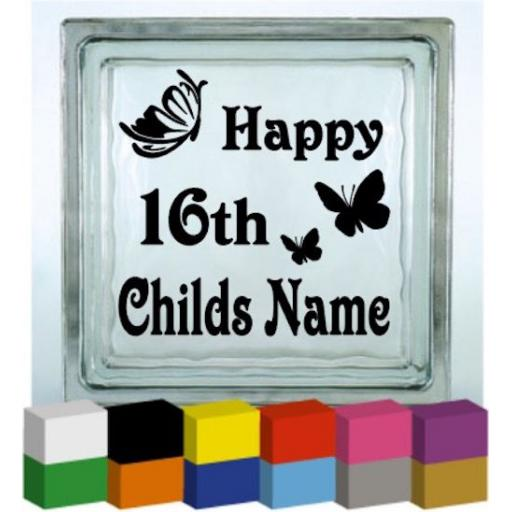 Personalised Happy 16th Vinyl Glass Block / Photo Frame Decal / Sticker/ Graphic