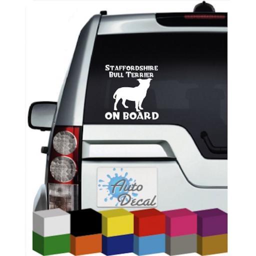 Staffordshire Bull Terrier On Board Vinyl Window Car Bumper, Decal / Sticker / Graphic