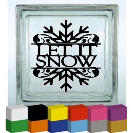 Let it Snow V3 Vinyl Glass Block / Photo Frame Decal / Sticker / Graphic