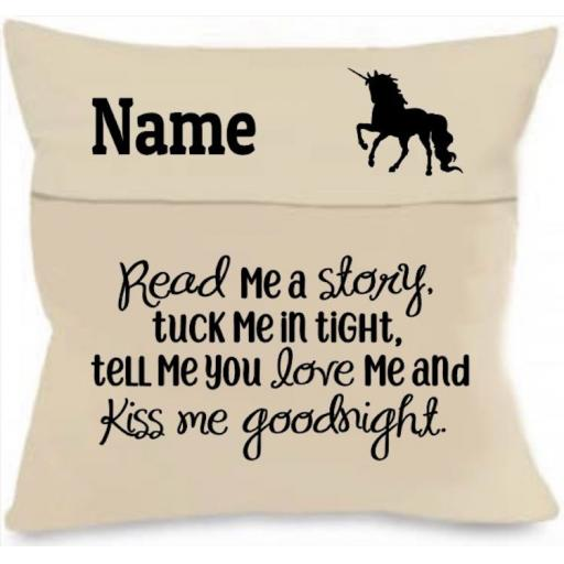 Read me a story Cushion Cover with Pocket Personalised