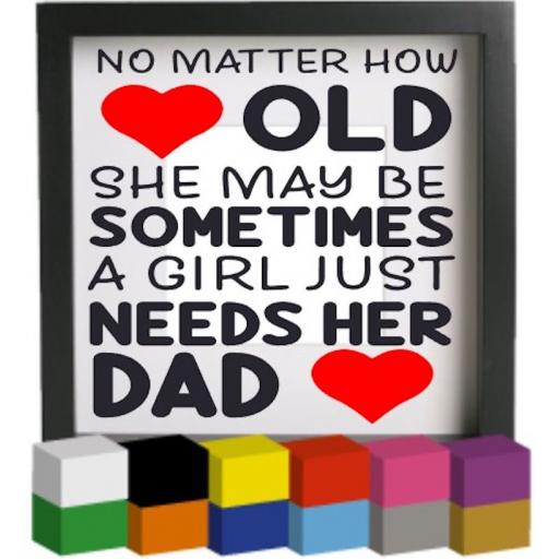 No Matter how old Vinyl Glass Block / Photo Frame Decal / Sticker / Graphic