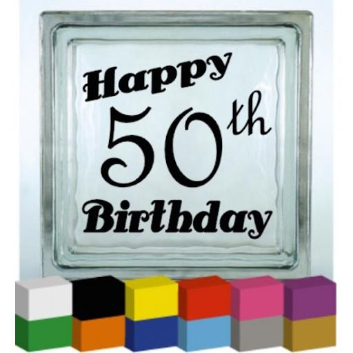Happy (Number) Birthday Vinyl Glass Block / Photo Frame Decal / Sticker