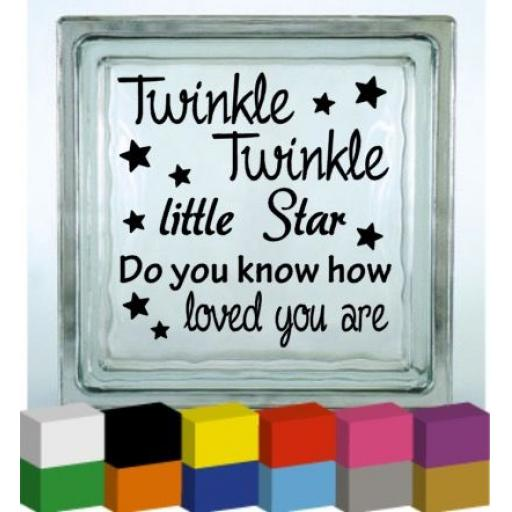 Twinkle Twinkle Vinyl Glass Block Decal / Sticker / Graphic