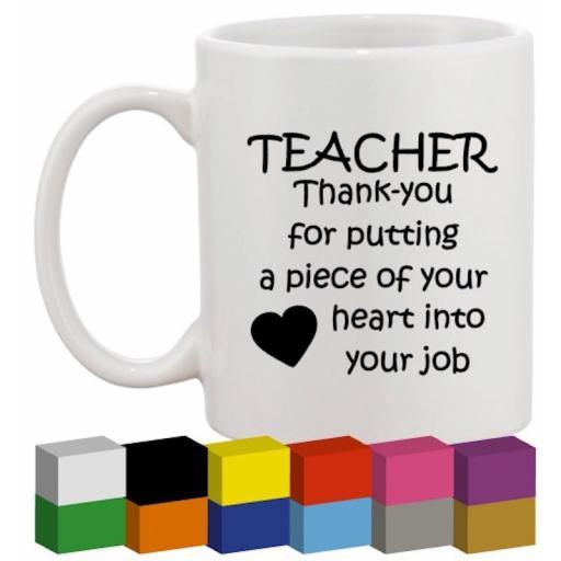 Teacher Thank you Glass / Mug / Cup Decal / Sticker / Graphic