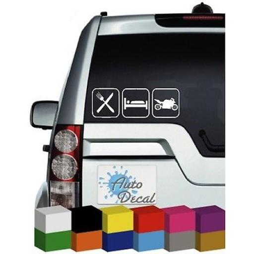 Eat, Sleep, Bike Vinyl Car, Van Window, Bumper Sticker / Graphic / Decal