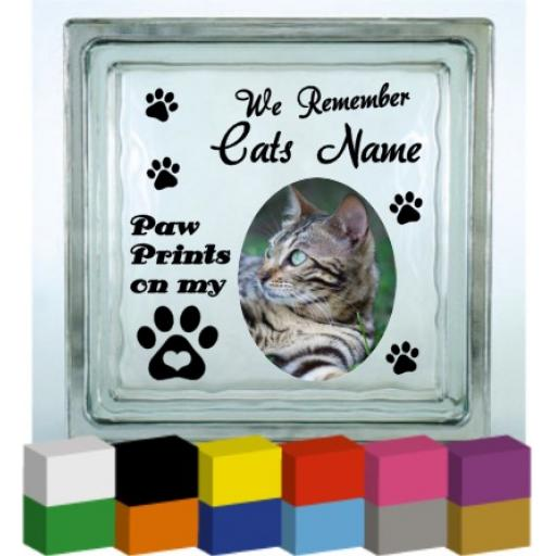We remember (Cats Name) Memorial Vinyl Glass Block / Photo Frame Decal / Sticker/ Graphic