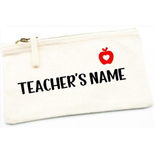 Teacher Pencil Case Canvas Accessory Pouch Personalised